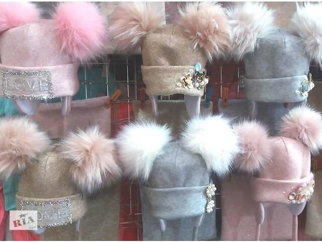 Тепла зимова шапка з зав'язками з снуд Зима для дівчаток 3 9 років (51-54 см)