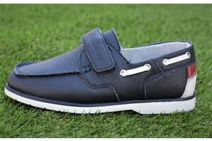 Туфли мокасины школьные детские для мальчика кожаные синие р32 - 37