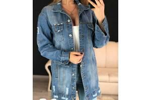 Удлиненная женская джинсовая куртка оверсайз