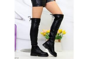 Зручні модні чорні жіночі високі чоботи ботфорти на низькому ходу 36-40р, 8714