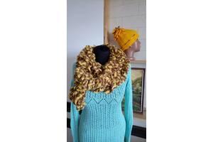 Вязаные шарф и шапка женские зимние волна