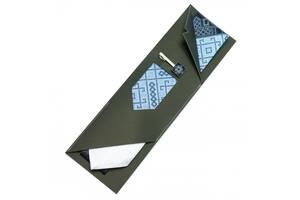 Вышитая галстук с зажимом Синее Трио