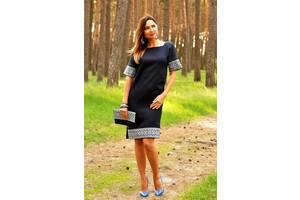 Вышитая платье прямого кроя с цельнокроеным рукавом