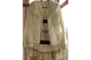 Жакет белый, куртка демисезонная с мехом, на молнии, М Л р. торг