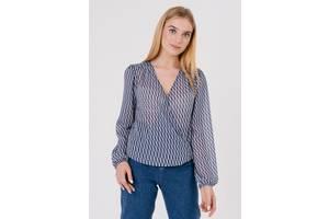 Женская блуза на запах 2353-S синяя