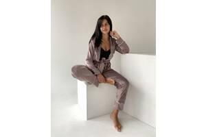 Женская пижама плюш велюр каппучино