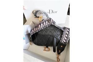 Женская сумка с тиснением Dior Saddle диор седло Black