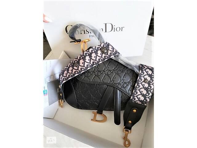 Женская сумка с тиснением Dior Saddle диор седло Black- объявление о продаже  в Мелитополе