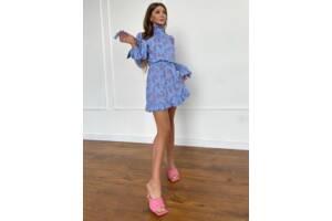 Женское голубое платье принт SKL76-293904