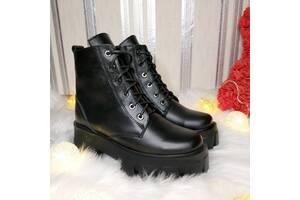 Женские кожаные ботинки зима 00671