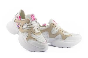 Жіночі кросівки шкіряні літні бежеві-білі Best Vak Перфорація ЖСС-20-05