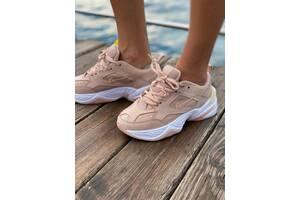 Женские кроссовки Nike M2K Tekno Pink (Найк М2К Текно кожаные розовые)