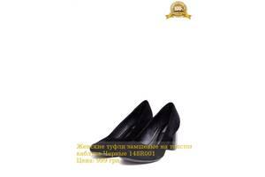 Женские туфли замшевые на толстом каблуке Черные 148R001