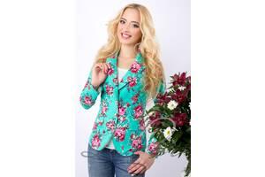 Женский пиджак с цветочным принтом. Разные цвета и размеры