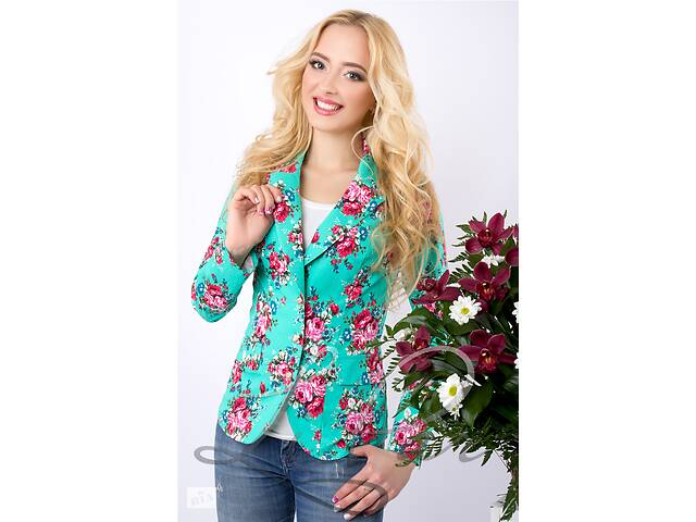 купить бу Женский пиджак с цветочным принтом. Разные цвета и размеры в Харькове