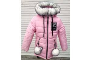 Зимняя удлинённая куртка - парка для девочек рост 92-122 см возраст 2-7 лет , цвета разные
