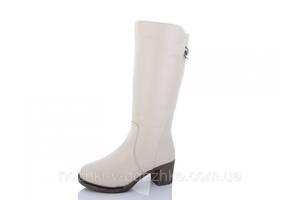 Зимние женские кремовые сапоги на устойчивом среднем каблуке 36