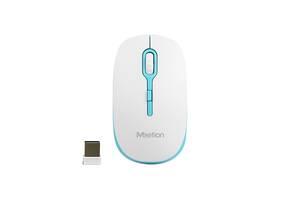 Беспроводная оптическая мышка мышь Meetion Wireless Mouse 2.4G MT-R547 Белый с голубым (gr_012332)