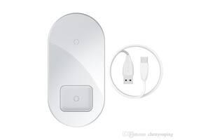 Бездротовий зарядний пристрій Baseus Simple 2in1 White