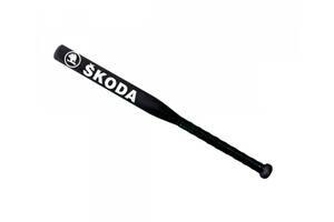 Бита бейсбольная подарочная Avtotrend с логотипом Skoda Черная с черной рукояткой +Чехол (avb_00173)