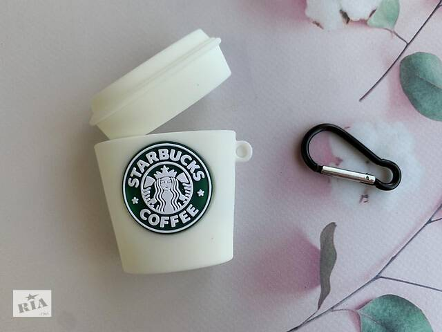 купить бу Чехол для наушников AirPods 1 и 2 поколения Starbucks Белый в Коломые