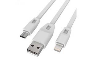 Дата кабель USB 2.0 - Micro USB/Lightning 2А (DR-1622) (White) 1,0м Drobak (219092)