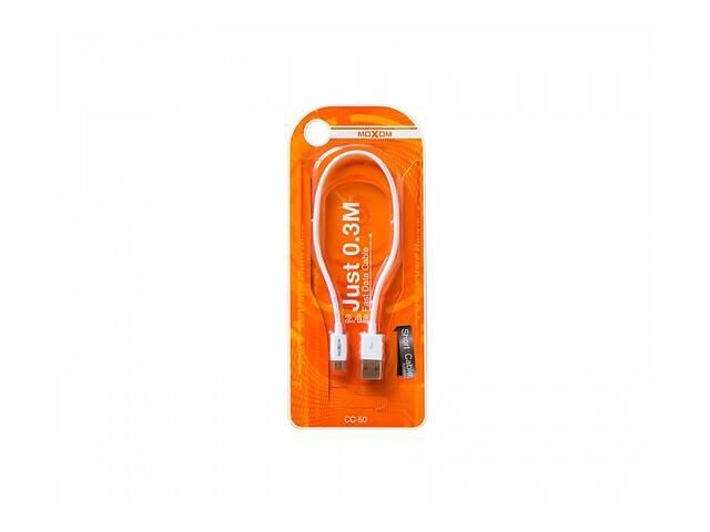 купить бу Кабель (провод) для зарядки смартфона/телефона USB MOXOM CC 50 micro USB 30 см Белый в Харькове