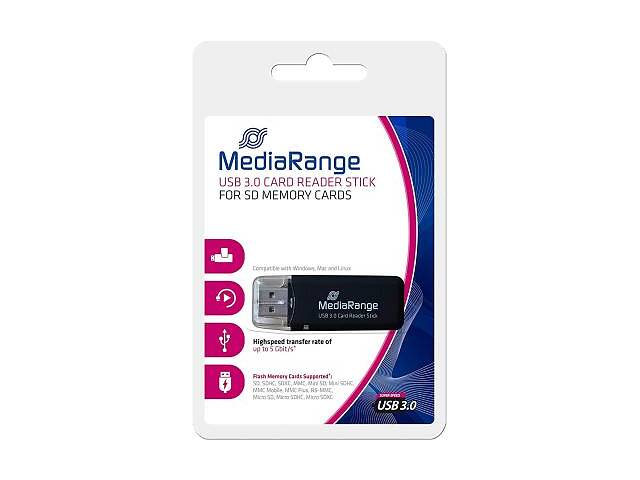 бу Считыватель флеш-карт MediaRange USB 3.0 black (MRCS507) в Харькове