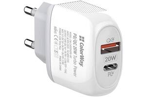 Сетевое зарядное устройство ColorWay (Type-C PD + USB QC3.0) White (CW-CHS024QPD-WT)