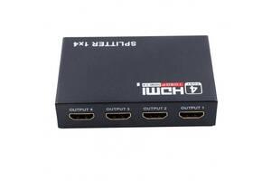 Сплиттер 1x4 порта HDMI splitter 1080P 4K 3D Черный (20053100245)