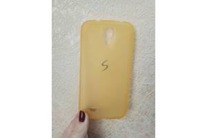 Силиконовый чехол для Samsung Galaxy S4 i9500 прорезиненный Baseus оранжевый прозрачный