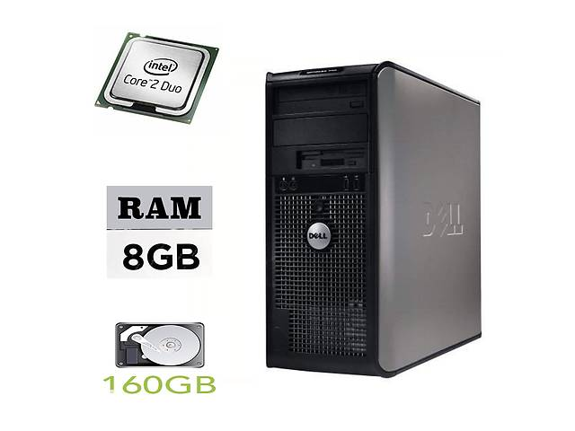 купить бу DELL Optiplex 755 Tower / Intel Core 2 Duo E7500 (2 ядра по 2.9GHz) / 8GB DDR2 / 160GB HDD + подарок ATI HD2400 XT в Киеве