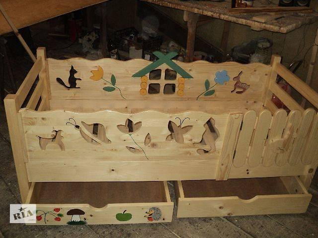 Деревянная детская кроватка из Карпат ручная работа- объявление о продаже  в Киеве