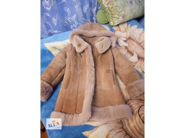продам Детская овечья дубленка,  капюшон отстегивается, тепленная. бу в Луганске