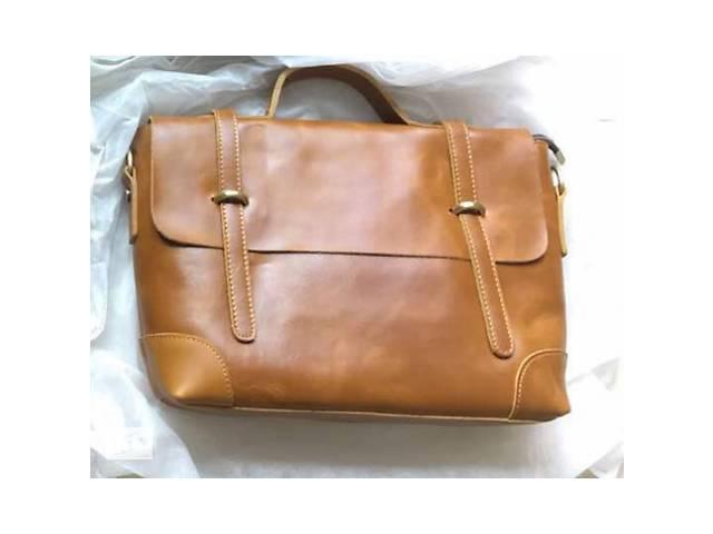 бу Стильная кожаная мужская светло-коричневая винтажная casual сумка портфель ручная работа в Киеве
