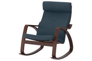 Кресло-качалка IKEA POÄNG Hillared Темно-синий с коричневым (092.010.61)