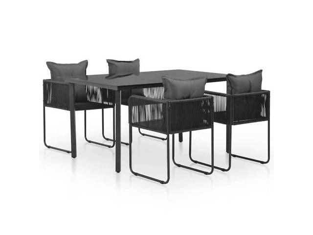 бу Набор мебели для сада, стол + 4 кресел + подушки Modern GREATstore черный в Львове