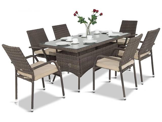 продам Набор ротанг для террасы Lautaro 160см столик и 6 стульев с подушками бу в Львове