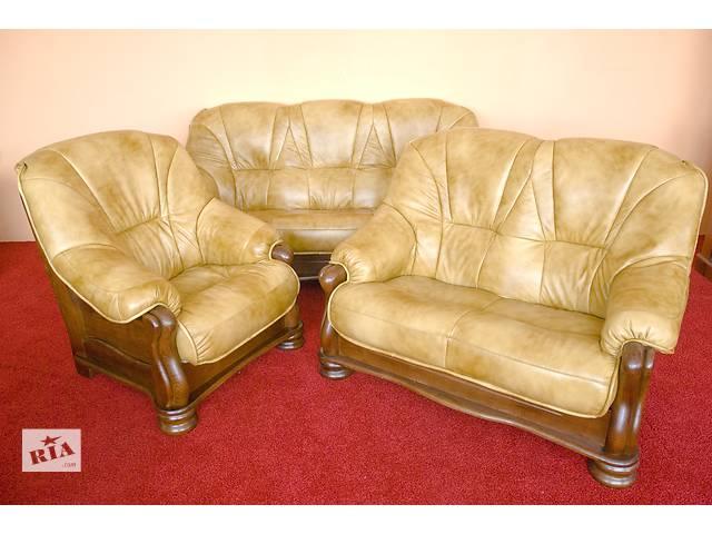 бу Новый кожаный диван и два кресла ARSINA. Кожаная мебель, комплект, набор. в Луцке