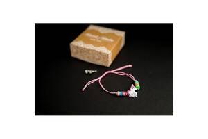 Браслет с кулоном Единорог в комплекте с серьгами-гвоздиками E&D 9727ED светло-розовый