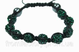 Браслет Шамбала (кружки Ø10мм):Темно-Зеленый
