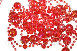 Бусы перламутровые на нити красные ( 1м/Ø10мм)