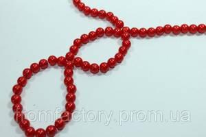 Бусы пластмассовые на колье (Ø6/100см):Красный