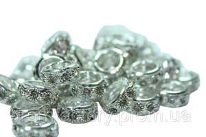 Колечки металлические разноцветные с белыми камнями Ø12мм:Серебро