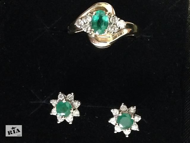 Комплект золотые серьги и кольцо с изумрудами и бриллиантами- объявление о  продаже в Вінниці f4c7dc7f738f6