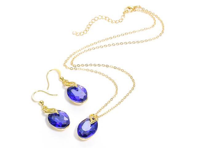 купить бу Набор бижутерии CWEEL цепочка подвеска серьги с камнями синего цвета в Чернигове