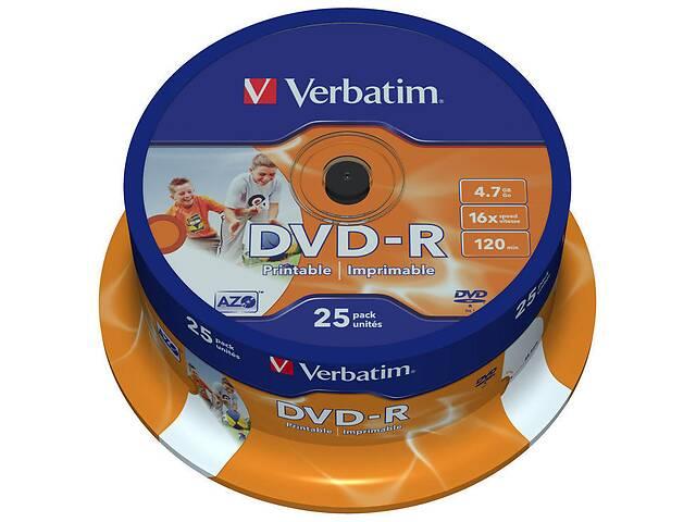продам Диск DVD Verbatim 4.7Gb 16X CakeBox 25шт Printable (43538) бу в Киеве