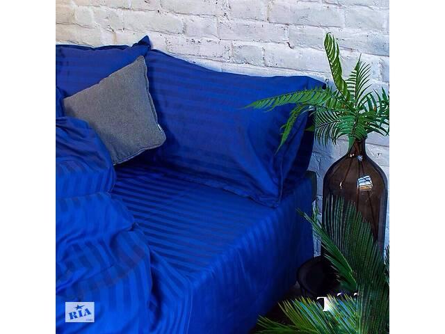 продам Постельное белье «Синий ультрамарин» Страйп-САТИН Все размеры бу в Хмельницком