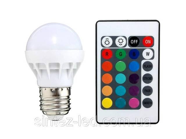 бу Светодиодная лампа RGB SL736 3W Р50  E27 с пультом 220V Код.59292 в Киеве
