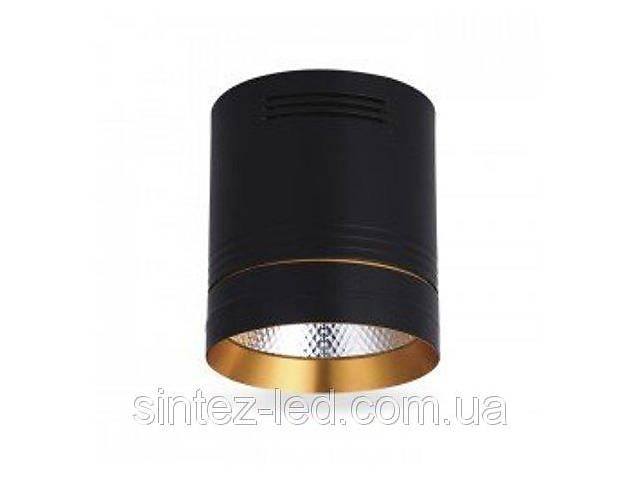 купить бу Светодиодный cветильник накладной AL542 18W 4000K цилиндр черный/золото Код.59430 в Дубні (Рівненській обл.)